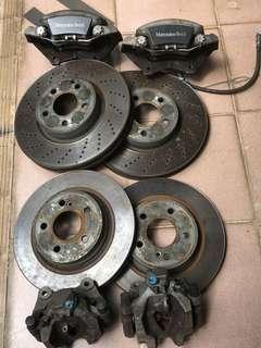 Benz E系 原廠剎車碟及鮑魚!全套八成新