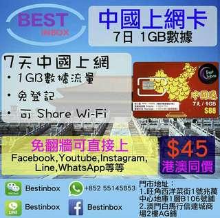 🥁🥁🥁🥁🥁🥁我地係唔洗翻場!! 中國7天1GB上網卡 4G 3G 高速上網~ 可上Facebook,Youtube,Line,Instagram等等