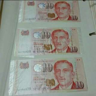 Money RUNNING # collector - PAPER President series Singapore currency