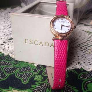 REPRICE!! ESCADA VANESSA 34mm GOLD WATCH WITH PINK STRAP INCLUDE BOX
