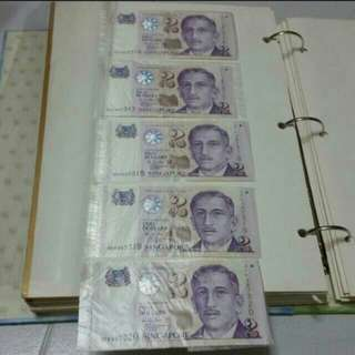 Money RUNNING # collector - PAPER notes President series Singapore currency   $2 notes