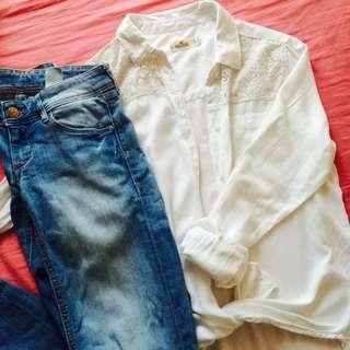 Hollister White Blouse Shirt With Lace 美國風白色蕾絲長袖衫 棉質恤衫 易燙質料 內穿外搭多種著法 S