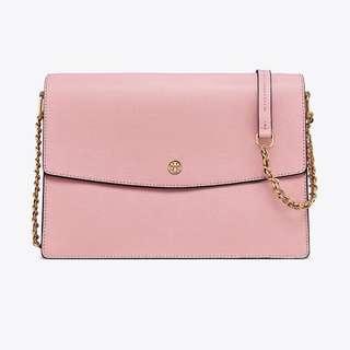 SALE Tory Burch Parker Large Convertible Chain Bag Handbag Slingbag Pink Quartz/Cardamom Baby Pink Beige