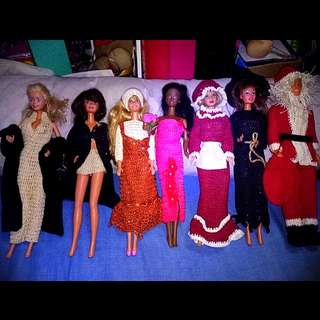 Barbie clothes and ken crocheted dolls not included
