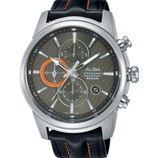 Alba AM3457X1 Men Chronograph AM3457X AM3457 Silver Black Leather Jam Tangan Pria