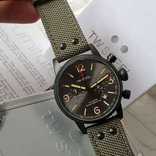 TW Steel Maverick Army Green Textile Strap Mens Watch (MS124)