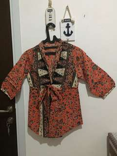 Orange Batik Outer with Ribbon and Buttons