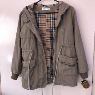 Khaki/Tartan Print Jacket