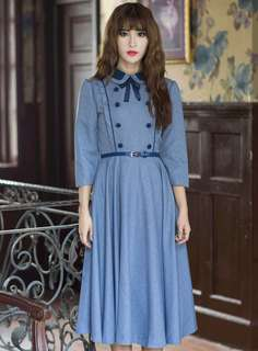 AO/DZC070642 - British Fashion Double-Breasted Bowknot Doll Collar Long Dress