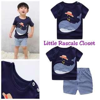 Boys Blue Whale T-Shirt + Shorts
