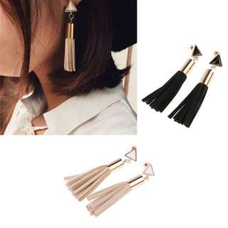 BNIP Beige Jamie Vintage Leather Tassel Earring