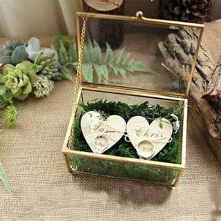 Unique Wedding Favors Hexagonal Geometric Ring Box Flower Jewelry Box Ring Bearer Pillow For Wedding Decorations