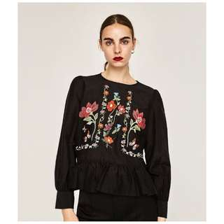 (BN) Zara Inspired Black Embroidered Long Sleeves Top/Blouse