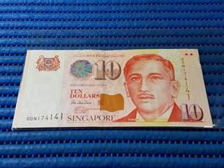 174141 Singapore Portrait Series $10 Note 0DN 174141 Nice Number Dollar Banknote Currency HTT