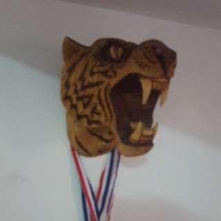 Wooden tiger head
