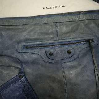 Balenciaga The Courier Blue Leather Shoulder Bag