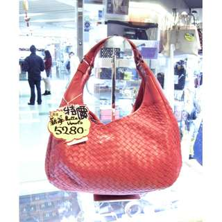 BV Bottega Veneta Red Leather Shoulder Hand Bag 寶提嘉 紅色 皮革 真皮 手挽袋 手袋 肩袋 袋