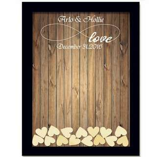 Rustic Wedding Guest Book with Small Hearts Wedding Decoration
