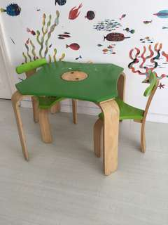 Kids Table with 2 chairs - wooden