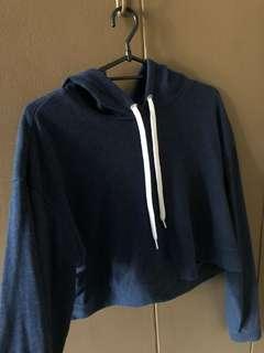 H&M Navy Blue Cropped Hoodie