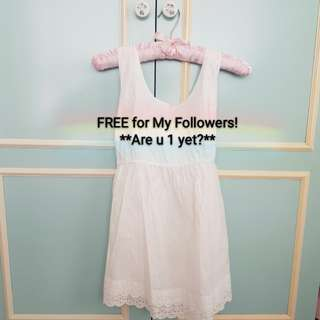 🔴FREE FOR MY FOLLOWER!🔴(Bought $36.90) **Those Followed but Unfollowed, pls detour (eg. Pic 2). Thks**🔴BRAND NEW: AUTHENTIC Princess white Baby doll dress/ wear as top (ribbon at the back)!💋TO BLESS💋No pet No smoker Clean Hse