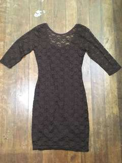Brown Bodycon Lace Dress