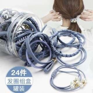24款時尚髮圈 髪繩 髮飾 橡皮筋