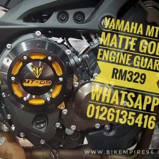 Yamaha mt09 matte gold Engine guard  rm329 whatsapp 0126135416 Protect your engine today!
