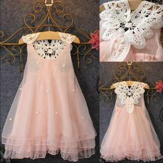 Chiffon baby girl party dress pearl lace tulle