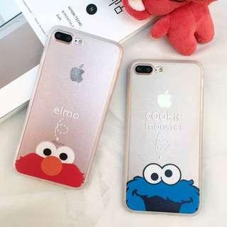 手機殼IPhone6/7/8/plus : 芝麻街Elmo/CookieMonster蠺絲紋