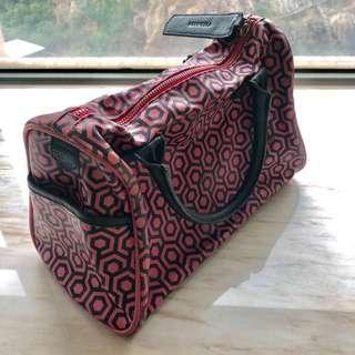 Authentic Mischa handbag monogram 粉紅菱格手挽袋