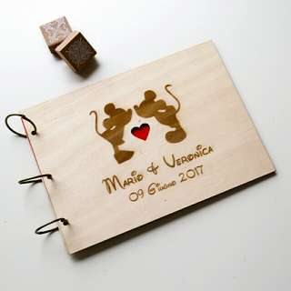 wood guest book A4 A5 Mickey Minnie, laser engraved guest book, personalized album