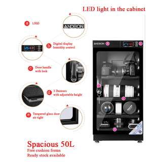 Promo - Dehumidifier / Dry Cabinet / Dry Box for camera (50L) with LED and electric panel