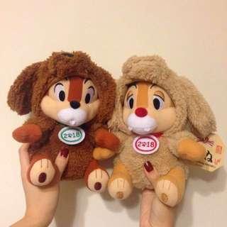 現貨❤️日本2018 狗年Chip n Dale大鼻與鋼牙迪士尼公仔一對