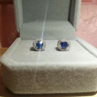 👑925 Silver Natural sapphire Earrings👑天然斯里蘭卡藍寳石純銀鍍18K白金耳環👑精工鑲嵌