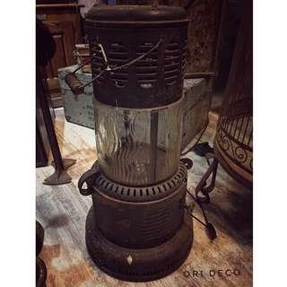 //ORI DECO工業風老件// 美國 老煤油爐 玻璃極美 工業風十足 新增E27燈頭線控