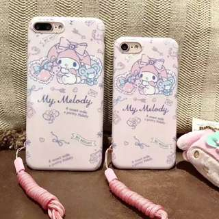 手機殼IPhone6/7/8/plus : 可愛粉色Melody配掛件