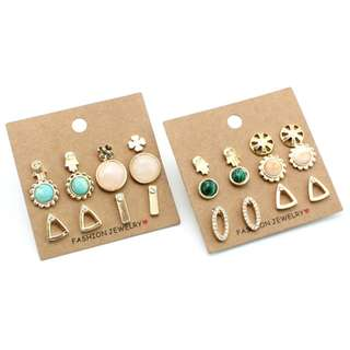 6 Pairs Set Earrings Trendy Cute Flower Sun Stud Earrings For Women New Vintage Fashion Jewelry