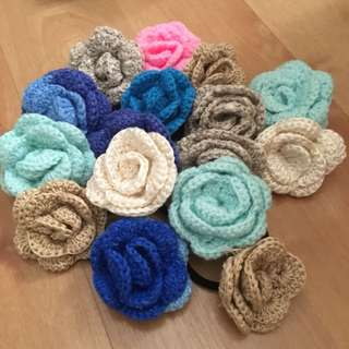 DIY crochet flowers badges/hairband/rubberband