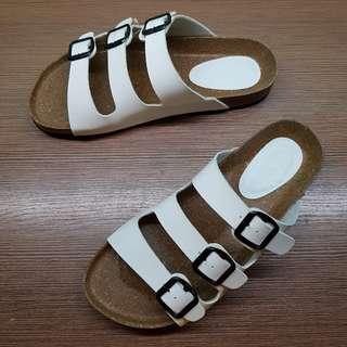Men's Tri-Strap White Sandals