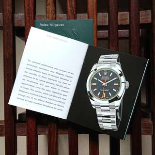 Rolex Milgauss 綠玻璃 Booklet + Red Seal Tag New Old Stock