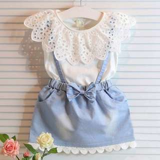 Girl Dress Lace Embroidery Ruffles Suspender