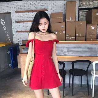 INSTOCK BNWT Off Shoulder Button Dress (Maroon)