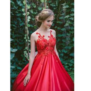 Red Fleur/Flower Beaded Wedding dress with illusion