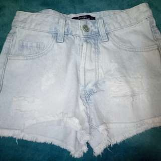 Bershka Washed Denim Ripped Shorts