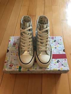Arnold Palmer Shoes ☂️遮仔鞋 厚底高筒帆布鞋(銀色)附金屬帶1對