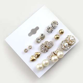 9 Pairs Set Earrings Fashion Elegant Shiny Gold Color Heart&Crystal&Pearl&Flowers Stud Earrings Cute Earring Sets