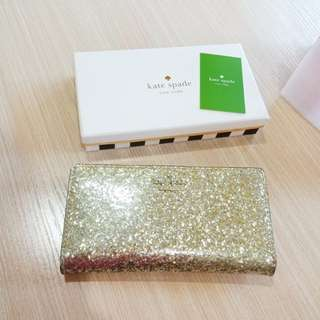Kate Spade Authentic stacy gold wallet glitter original box paperbag