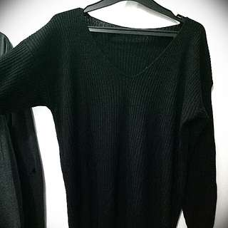 Sweater warna hitam oversized fit to xl