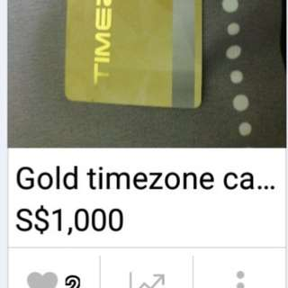 Timezone gold card with $1000 value
